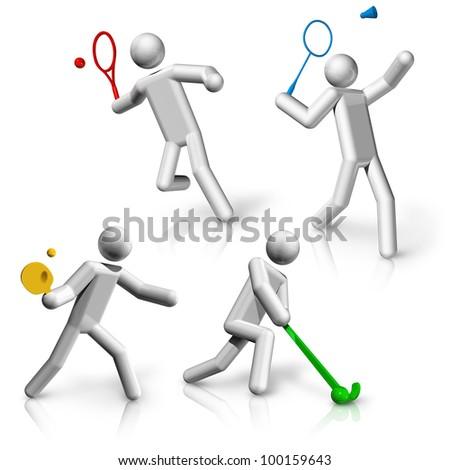 sports symbols icons series 9 on 9, tennis, badminton, table tennis, hockey - stock photo
