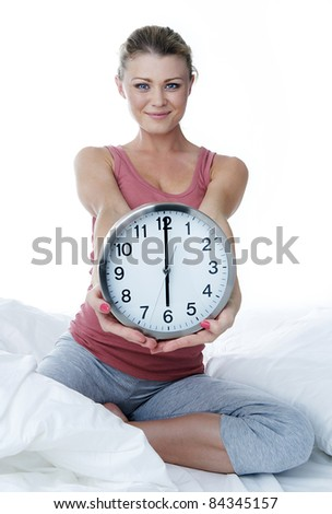 Sports time. The girl has woken up and going to go in for sports. - stock photo