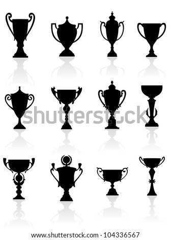 Sports trophies and awards silhouettes set for design, such logo. Vector version also available in gallery - stock photo