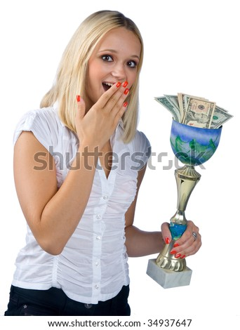 sports woman with trophy full of money - stock photo