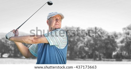 Sportsman is playing golf against park on sunny day - stock photo