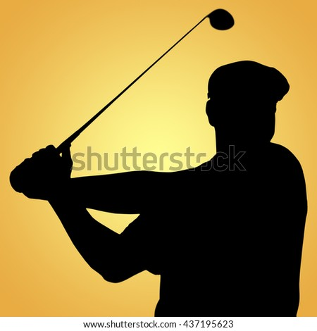 Sportsman is playing golf against yellow vignette - stock photo