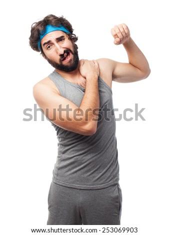 sportsman shoulder pain - stock photo