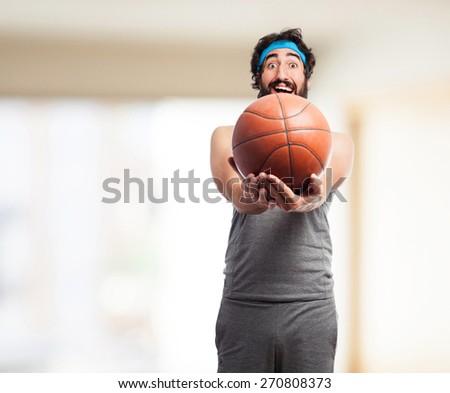 sportsman with basketball ball - stock photo