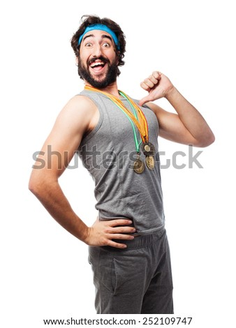 sportsman with medals - stock photo