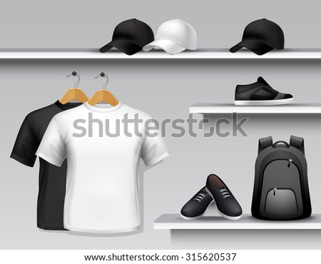 Sportswear store shelf with t-shirts bags caps and shoes  illustration - stock photo