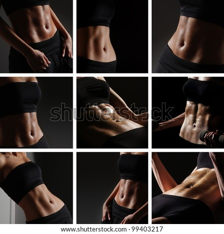 Sporty belly over black background - stock photo