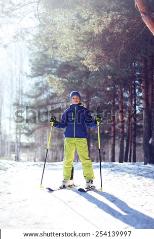 Sporty boy skiing in the forest, sunny clear winter day - stock photo