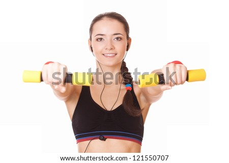 sporty caucasian woman lifting dumbbells isolated on white background - stock photo