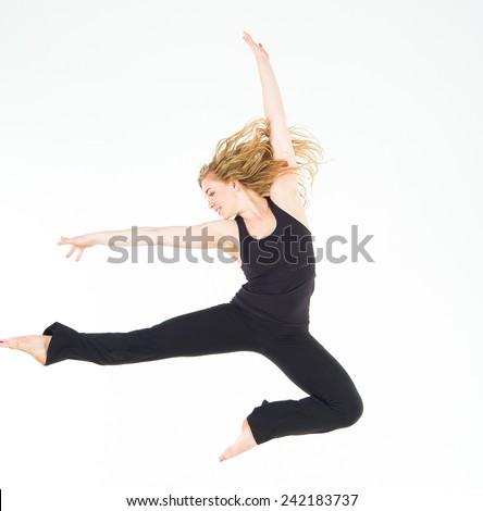 Sporty Elegance Dancing Girl  - stock photo