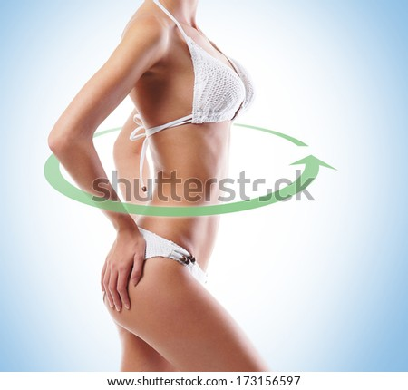 Sporty, fit and beautiful body with the arrows cycle (healthy eating, vitamins and nutrition concept) - stock photo