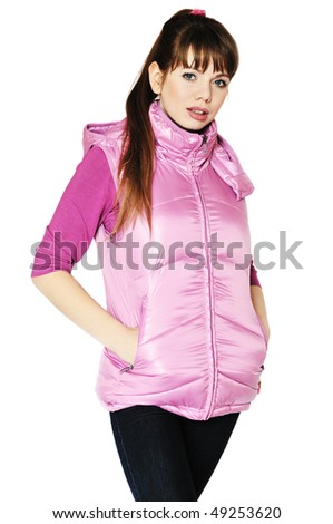 sporty girl wearing lilac jacket over the white - stock photo