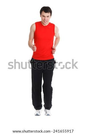 sporty man runs - stock photo