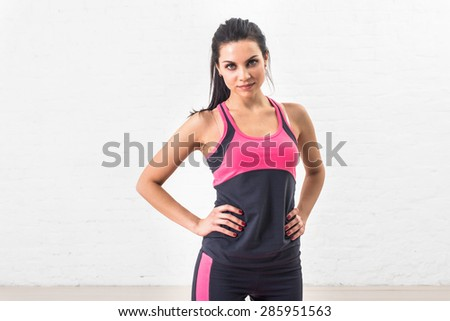 Sporty style. Beautiful woman goes in for sports and fitness. Healthy lifestyle, health. - stock photo