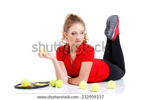 sporty teenage girl playing tennis with racket isolated over white background. young beautiful tennis player isolated on white background - stock photo