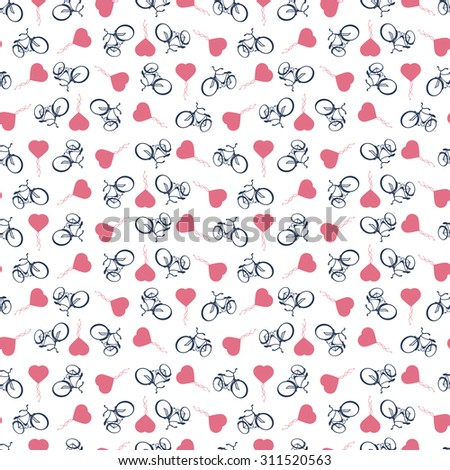Sporty, tourist, seamless background with bicycles and heart balloons  isolated on white. Rasterized version - stock photo