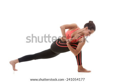 Sporty yoga girl on white background stepping back with one foot, bending into the knee - stock photo