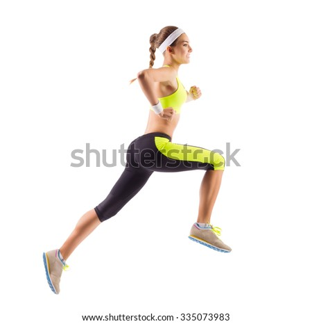 Sporty young running girl isolated - stock photo