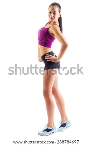 Sporty young woman isolated on white - stock photo