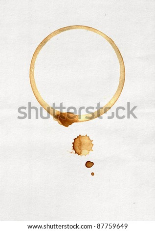 Spot from a cup of coffee on white paper - stock photo