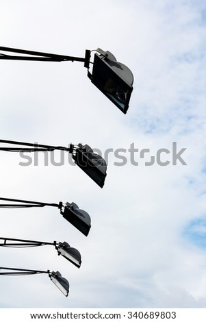 spotlight on billboard - stock photo