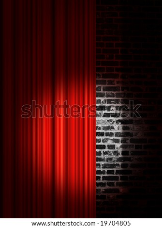 Spotlight on stage curtain - stock photo