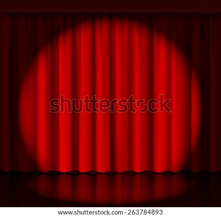 Spotlight on stage curtain. Event and show, fabric and entertainment - stock photo