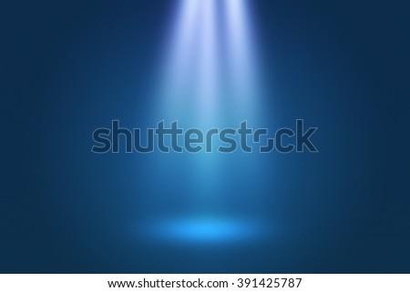 Spotlight Show Blue Background - stock photo