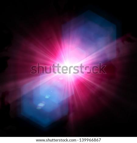 Spotlight single beam on smog background - stock photo