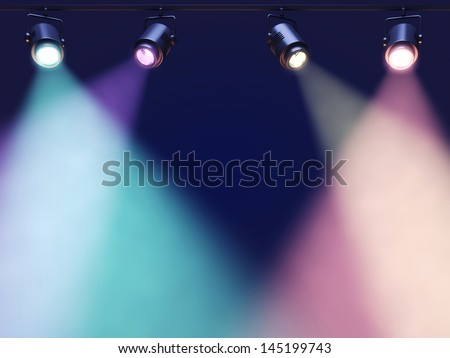 Spotlights high up leaving room for showcased content - stock photo