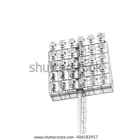 Spotlights posted in the stadium on with White background. - stock photo