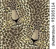Spotted Cats pattern repeats seamlessly. - stock photo