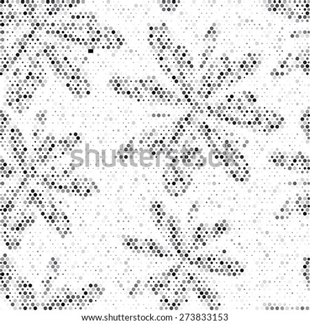 Spotted grunge flower illustration. Monochrome floral repeating texture  - stock photo