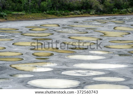 Spotted Lake close view in Okanagan valley, saline alkali lake located northwest of Osoyoos, Okanagan ,British Columbia, BC, Canada - stock photo