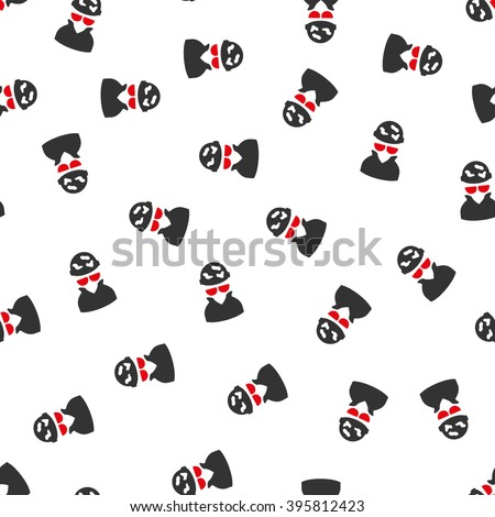 Spotted Spy raster seamless repeatable pattern. Style is flat red and dark gray spotted spy symbols on a white background. - stock photo