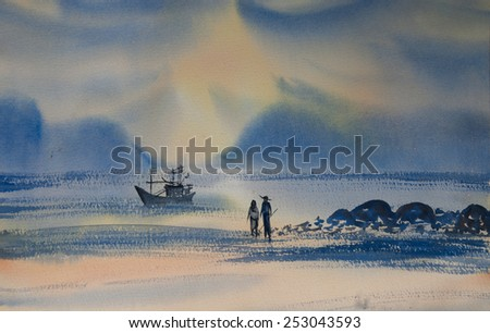 Spouse on the beach at sun set time ; Watercolor painting - stock photo