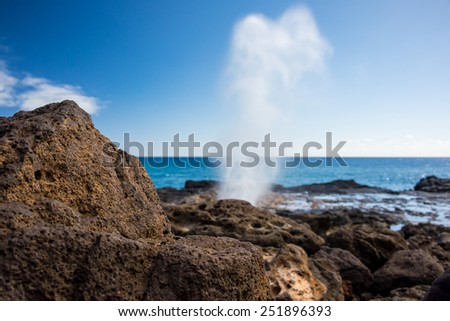 Spouting Horn on the island of Kauai, Hawaii - stock photo