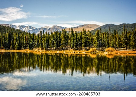 Sprague Lake at Rocky Mountain National Park Colorado - stock photo