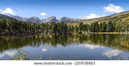 Sprague Lake Reflection in Rocky Mountain National Park Colorado - stock photo
