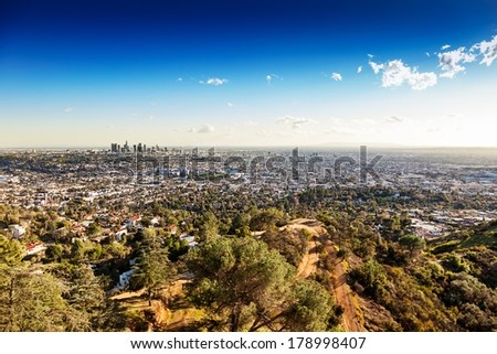Sprawling Los Angeles as seen from the hilltop vantage point of the Griffith Observatory - stock photo