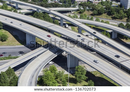 Sprawling suburban freeway interchange aerial in Atlanta Georgia. - stock photo