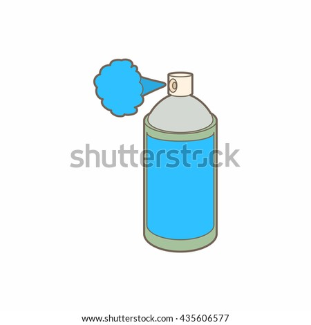 Spray bottle with gas cloud icon, cartoon style - stock photo