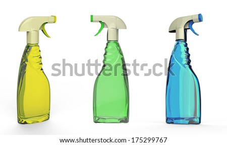 Spray bottles yellow green blue detergent cleaning chemicals isolated on white background.Easy editable for your design.   - stock photo