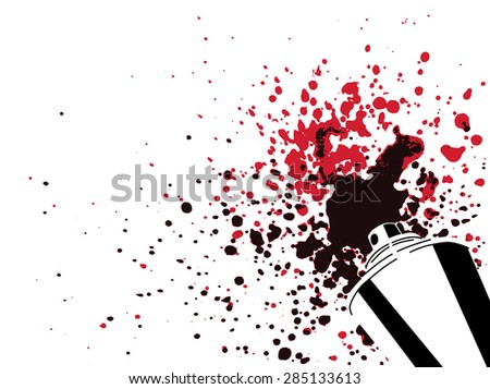 Spray can silhouette with red and black color drops and splashes isolated on white background - art, creativity or graffiti element - stock photo
