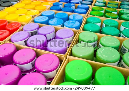Spray cans, time to redesign, color palette - stock photo