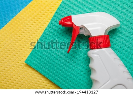 Spray on microfiber cleaning towels for house cleaning - stock photo