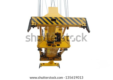 Spreader of a industrial crane on white - stock photo