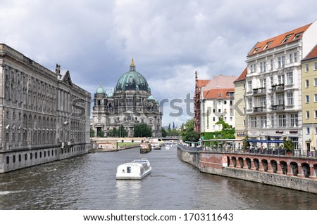 Spree River with Berlin Cathedral (Germany) - stock photo