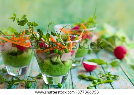 Spring appetizer with raw vegetables and green pea hummus - stock photo
