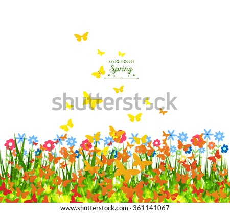 Spring Background with butterflies colorful - stock photo